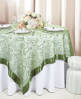 """85"""" Square Embroidered Organza Table Overlay - Clover 91148 (1pc/pk)"""