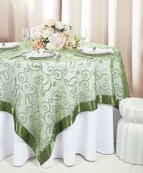 "85"" Square Embroidered Organza Table Overlay - Clover 91148 (1pc/pk)"