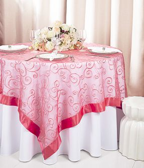 """85"""" Square Embroidered Organza Table Overlay - Coral 91106 (1pc/pk)"""