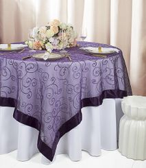"85"" Square Embroidered Organza Table Overlay - Eggplant 91145 (1pc/pk)"