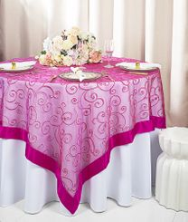 "85"" Square Embroidered Organza Table Overlay - Fuchsia 91109 (1pc/pk)"