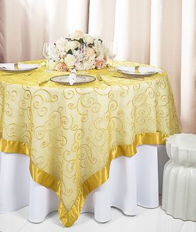 """85"""" Square Embroidered Organza Table Overlay - Gold 91127 (1pc/pk)"""