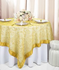 "85"" Square Embroidered Organza Table Overlay - Gold 91127 (1pc/pk)"