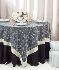 "85"" Square Embroidered Organza Table Overlay -  Ivory 91102 (1pc/pk)"