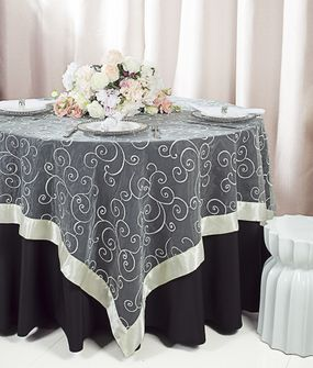 """85"""" Square Embroidered Organza Table Overlay -  Ivory 91102 (1pc/pk)"""