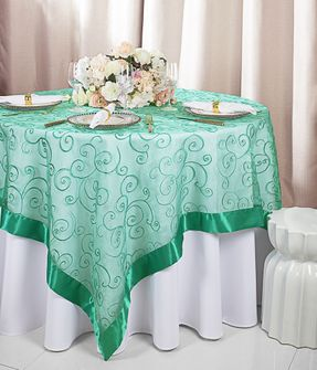 "85"" Square Embroidered Organza Table Overlay - Jade 91126 (1pc/pk)"