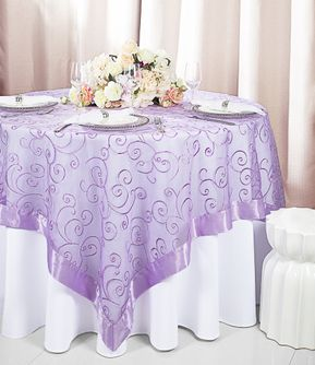 """85"""" Square Embroidered Organza Table Overlay - Lavender 91111 (1pc/pk)"""