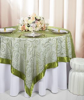 """85"""" Square Embroidered Organza Table Overlay - Moss Green 91117 (1pc/pk)"""