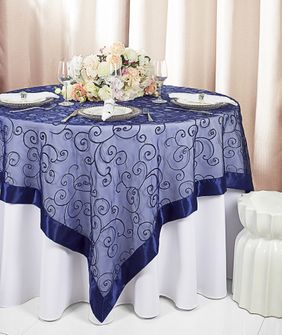 "85"" Square Embroidered Organza Table Overlay - Navy Blue 91123 (1pc/pk)"