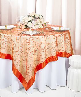 "85"" Square Embroidered Organza Table Overlay - Orange 91133 (1pc/pk)"