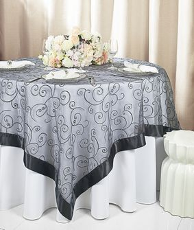 """85"""" Square Embroidered Organza Table Overlay - Pewter 91160 (1pc/pk)"""
