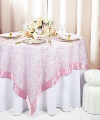 "85"" Square Embroidered Organza Table Overlay - Pink 91105 (1pc/pk)"