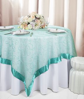 """85"""" Square Embroidered Organza Table Overlay - Pool Blue 91178 (1pc/pk)"""