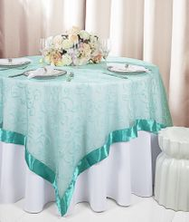 "85"" Square Embroidered Organza Table Overlay - Pool Blue 91178 (1pc/pk)"