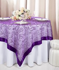 "85"" Square Embroidered Organza Table Overlay - Purple 91143 1pc/pk)"