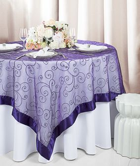 """85"""" Square Embroidered Organza Table Overlay - Regency 91163 (1pc/pk)"""