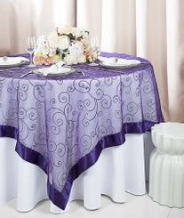 "85"" Square Embroidered Organza Table Overlay - Regency 91163 (1pc/pk)"