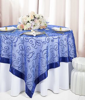 """85"""" Square Embroidered Organza Table Overlay - Royal Blue 91122 (1pc/pk)"""
