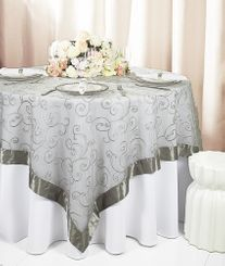 "85"" Square Embroidered Organza Table Overlay - Silver 91140 (1pc/pk)"