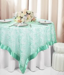 "85"" Square Embroidered Organza Table Overlay - Tiff Blue / Aqua Blue 91118 (1pc/pk)"
