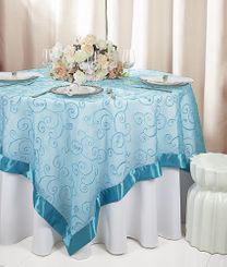 "85"" Square Embroidered Organza Table Overlay - Turquoise 91185 (1pc/pk)"