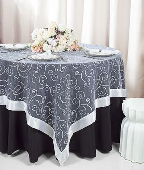 """85"""" Square Embroidered Organza Table Overlay - White 91101 (1pc/pk)"""