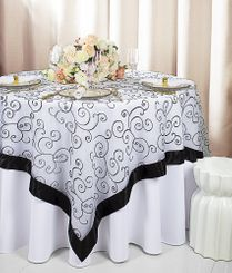 "85"" Square Embroidered Organza Table Overlay - White / Black 91169 (1pc/pk)"