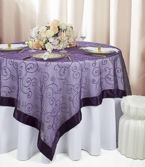 "85""x85"" Square Embroidered Organza Table Overlays (31 Colors)"