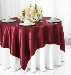 "85"" Square Satin Table Overlay - Burgundy 51210 (1pc/pk)"
