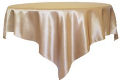 """85"""" Square Satin Table Overlay - Champagne 51228 (1pc/pk)"""