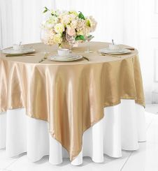 "85"" Square Satin Table Overlay - Champagne 51228 (1pc/pk)"