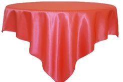 """85"""" Square Satin Table Overlay - Coral 51206 (1pc/pk)"""