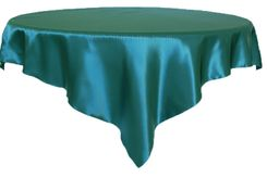 """85"""" Square Satin Table Overlay - Peacock 51259 (1pc/pk)"""