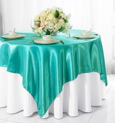 "85"" Square Satin Table Overlay - Pool Blue 51278 (1pc/pk)"