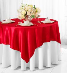 "85"" Square Satin Table Overlay - Red 51212 (1pc/pk)"