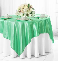 "85"" Square Satin Table Overlay - Sage Green 51230 (1pc/pk)"