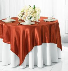 "85"" x 85"" Square Satin Table Overlays - 56 Colors"