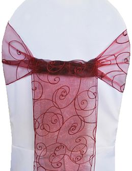 Embroidered Organza Chair Sashes - Burgundy 90510 (10pcs/pk)