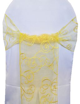 Embroidered Organza Chair Sashes - Canary Yellow 90516 (10pcs/pk)