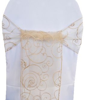 Embroidered Organza Chair Sashes - Champagne 90528 (10pcs/pk)