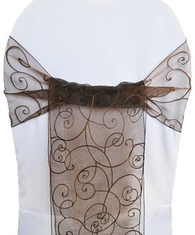 Embroidered Organza Chair Sashes - Chocolate 90591 (10pcs/pk)