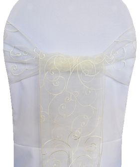Embroidered Organza Chair Sashes - Ivory 90502 (10pcs/pk)