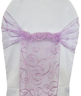 Embroidered Organza Chair Sashes - Lavender 90511 (10pcs/pk)