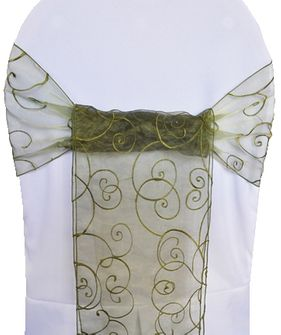 Embroidered Organza Chair Sashes - Moss Green 90517 (10pcs/pk)