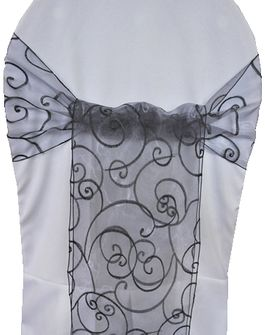 Embroidered Organza Chair Sashes - Pewter 90560 (10pcs/pk)