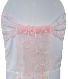 Embroidered Organza Chair Sashes - Pink 90505 (10pcs/pk)