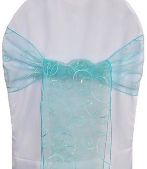 Embroidered Organza Chair Sashes - Pool Blue 90578 (10pcs/pk)
