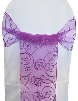 Embroidered Organza Chair Sashes - Purple 90543 (10pcs/pk)