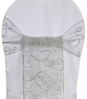 Embroidered Organza Chair Sashes - Silver 90540 (10pcs/pk)