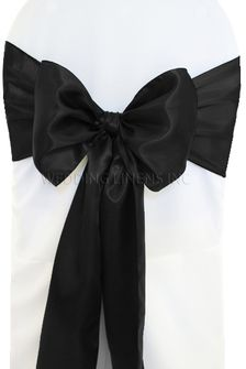 Satin Chair Sashes - Black 50639 (10pcs/pk)